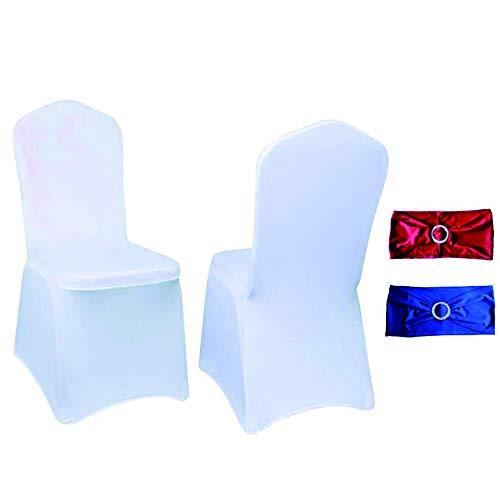 Yahpetes Chair Cover 100 Pcs White Polyester Spandex Banquet Chair Covers Flat Front Stretch Spandex Chair Covers for Wedding with Sashes Bows (100 Pcs Chair Sashes Bows, 100 Pcs White Flat Front)
