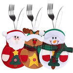 YANX 2018 Newest Christmas Kitchen Cutlery Suit 3pcs Tableware Knifes Forks Bag Personalised Silverware Holders Pockets, Cute Snowman, Santa Claus, Reindeer for Christmas Decoration