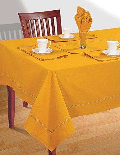 Yellow Table Linen Set for 6 Seat Table: Includes Rectangular Tablecloth, 6 Napkins & Table Runner - Premium Cotton Fabric