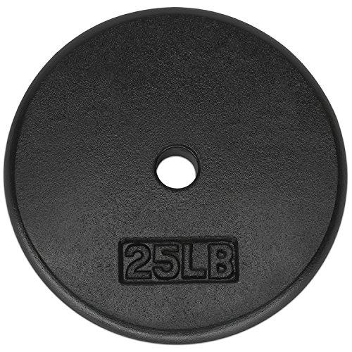 Yes4All 1-inch Cast Iron Weight Plates for Dumbbells - Standard Weight Disc Plates (25 lbs, Single)
