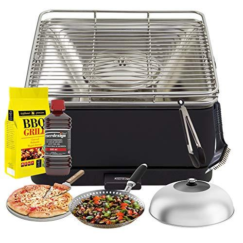 YeseatIs by FEUERDESIGN - TEIDE Grill ANTHRACITE - Kit with IGNITION GEL + CHARCOAL 3 Kg + Barbecue Tongs + Pizza Stone + Stainless Steel Glass Hood+ Vegetable Pan + Cleaning brush