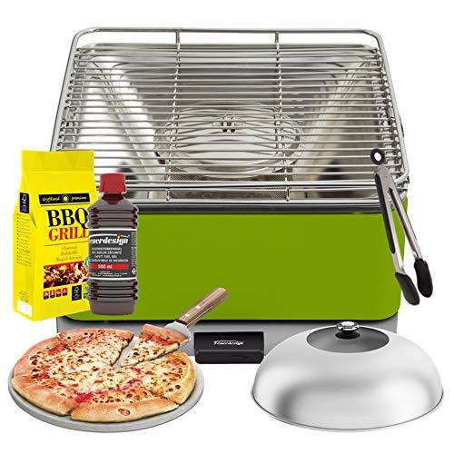 YeseatIs by FEUERDESIGN - TEIDE Grill GREEN - Kit with IGNITION GEL + CHARCOAL 3 Kg + Barbecue Tongs + Pizza Stone + Stainless Steel-Glass Hood