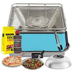 YeseatIs by FEUERDESIGN - TEIDE Grill LIGHT-BLUE - Kit with IGNITION GEL + CHARCOAL 3 Kg + Barbecue Tongs + Pizza Stone + Stainless Steel Glass Hood+ Vegetable Pan + Cleaning brush