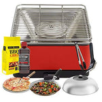 YeseatIs by FEUERDESIGN - TEIDE Grill RED - Kit with IGNITION GEL + CHARCOAL 3 Kg + Barbecue Tongs + Pizza Stone + Stainless Steel Glass Hood+ Vegetable Pan + Cleaning brush