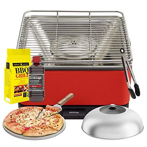 YeseatIs by FEUERDESIGN - TEIDE Grill RED - Kit with IGNITION GEL + CHARCOAL 3 Kg + Barbecue Tongs + Pizza Stone + Stainless Steel-Glass Hood