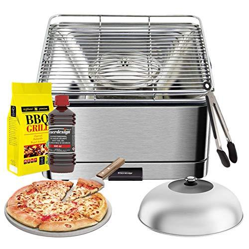 YeseatIs by FEUERDESIGN - TEIDE Stainless-Still Grill - Kit with IGNITION GEL + CHARCOAL 3 Kg + Barbecue Tongs + Pizza Stone + Stainless Steel-Glass Hood