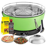 YeseatIs by FEUERDESIGN - VESUVIO Grill GREEN - Kit with IGNITION GEL + CHARCOAL 3 Kg + Barbecue Tongs + Pizza Stone + Stainless Steel Glass Hood+ Vegetable Pan + Cleaning brush