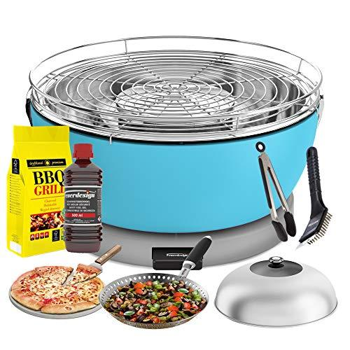 YeseatIs by FEUERDESIGN - VESUVIO Grill LIGHT BLUE - Kit with IGNITION GEL + CHARCOAL 3 Kg + Barbecue Tongs + Pizza Stone + Stainless Steel Glass Hood+ Vegetable Pan + Cleaning brush