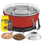 YeseatIs by FEUERDESIGN - VESUVIO Grill RED - Kit with IGNITION GEL + CHARCOAL 3 Kg + Barbecue Tongs + Pizza Stone + Stainless Steel Glass Hood+ Vegetable Pan + Cleaning brush