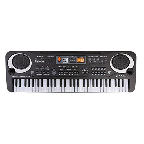 Yeshi 61 Keys Digital Electronic Keyboard Piano Musical With Mic Kids Parents Interactive Intelligence Development Educational Toy Gifts (Black)