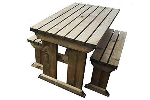 YEWS COMPACT STANDARD WOODEN PICNIC TABLE BENCH SEAT SET WITH - Pressure treated wood picnic table