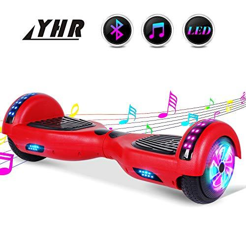 YHR 6.5inch Hoverboard With Bluetooth and Colorful Light, Self-Balacing Electric Scooter for Kids and Adults,Segway Hoverboard with Free Carrg Bag and UK Charger