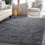 YJ.GWL Super Soft Shaggy Rug for Bedroom Kids Room Fluffy Baby Nursery Carpet Area Rugs 4 ft x 5.3 ft,(Grey)