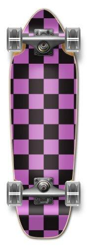 "Yocaher Complete Longboard- Mini Cruiser- Banana Cruiser 27"" X 8"", Checker Purple"