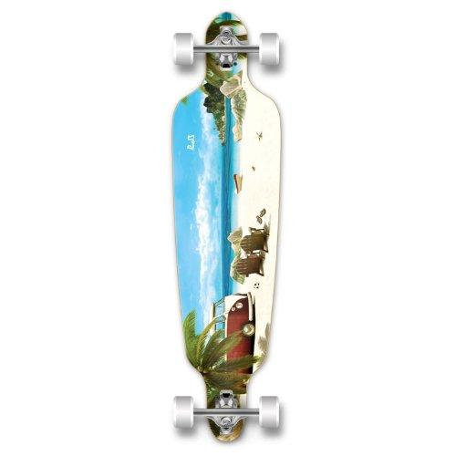 Yocaher Professional Speed Drop Through Graphic Complete Longboard, Getaway