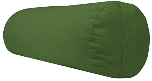 YogaAccessories Supportive Round Cotton Yoga Bolster (Olive Green)