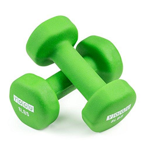 Yogu Deluxe Vinyl Dumbbells (Set of 2) (8 lbs - Green)