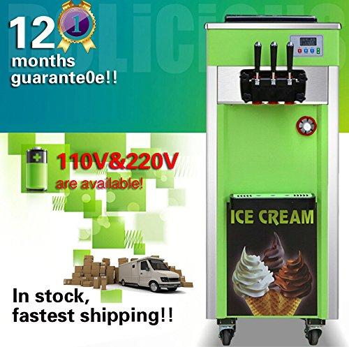 Yoli® Home Vertical Electric soft ice cream machine, Full Stainless stell Ice cream maker machine,capacity 18-25L/H,110V/220V
