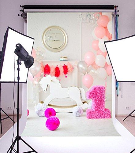 YongFoto 2x3m Vinyl Photography Backdrop Paper Flowers Balloon White Hobbyhorse 1st Birthday Photo Background Backdrops for Photography Photo Shoots Party Kids Personal Portrait Photo Studio Props