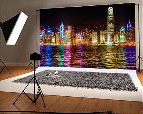 YongFoto 3x2m Photography Backdrop Cityscape Modern Building Tower Shining Lights Seaside Night View Nature Photo Background Backdrops Photography Video Party Kids Portrait Photo Studio Props