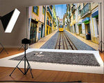 YongFoto 3x2m Photography Backdrop Cityscape Town Street Streetcar Railroad Tracks House Nature Travel Photo Background Backdrops Photography Video Party Newborn Kids Baby Portrait Photo Studio Props