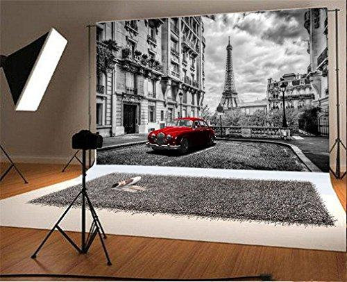 YongFoto 3x2m Photography Backdrop Eiffel Tower Red Car Elegant Castle European Architecture Photo Background Backdrops Photography Video Party Newborn Kids Baby Personal Portrait Photo Studio Props