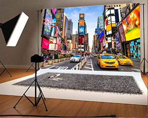 YongFoto 3x2m Photography Backdrop Times Square Cityscape Building House Traffic Cars Road Nature Photo Background Backdrops Photography Video Party Adults Wedding Personal Portrait Photo Studio Props