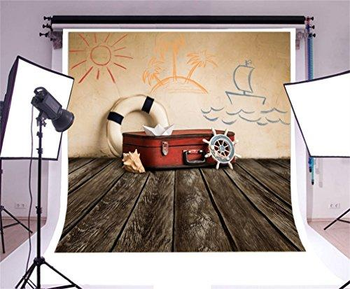 YongFoto 3x3m Photography Backdrop Adventure Theme Background Lifebuoy Suitcase Spyglass Sailor Backdrops Photography Photo Shoots Party Adults Wedding Personal Portrait Photo Background Studio Props