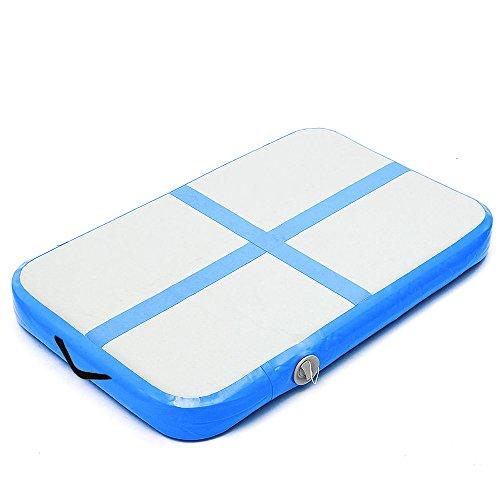 Young Life Inflatable Air Track 100X60X10 cm Floor Gymnastics Tumbling Mat Air Tumbling Pad Yoga Mat Air Tumble Track Inflatable Gymnastics Mat With Air Pump Blue TCD-007