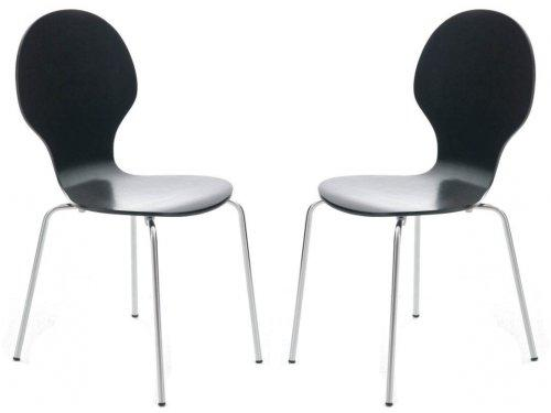 Your Price Furniture.com Set of 2 Black and Chrome Metal Keeler Style Stackable Dining Chairs - Kitchen Cafe Bistro Stacking Chairs