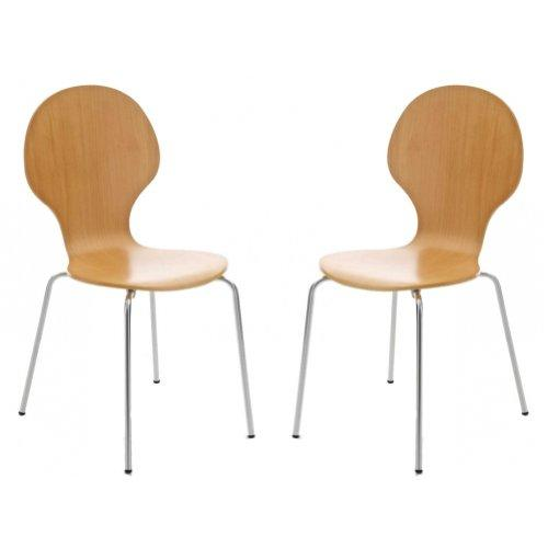 Your Price Furniture.com Set of 2 Kimberley Natural and Chrome Metal Keeler Style Stackable Dining Chairs - Kitchen Cafe Bistro Stacking Chairs