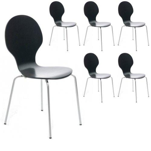 Your Price Furniture.com Set of 6 Black and Chrome Metal Keeler Style Stackable Dining Chairs - Kitchen Cafe Bistro Stacking Chairs