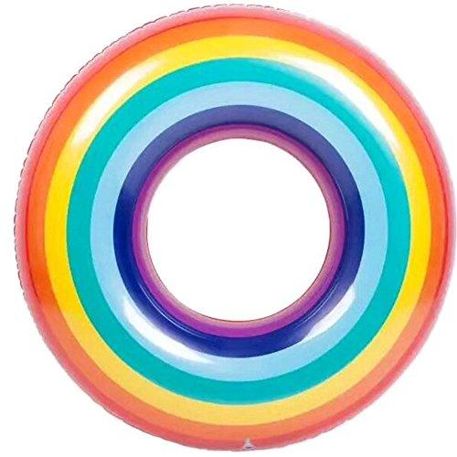 YQUAN Pvc water adult rainbow swimming ring thick buoyancy ring armpit  inflatable rainbow swim ring, 90#