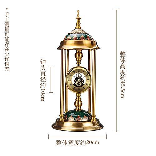 Ytter European clock clock retro clock living room large desk clock bedroom table pendulum clock desktop ornaments American mute clock-6818 all metal