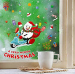 Yudanwin Fine Party Supplies Cartoon Decorative Christmas Window Electrostatic Stickers Christmas Decorations(Motorcycle Snowman)