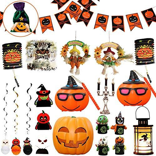 YUELAI Halloween Decoration Set Ornaments Witch Scarecrow Wreath Bunting Foil Swirl Ceiling Hanging Cards Jack-o'-lantern Pumpkin Paper Lantern Skeleton Candlesticks LED (Send Candy Bag) A