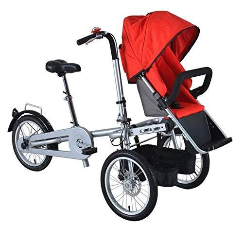 YUHT Double Child Bike Baby Stroller,Baby Balance Bikes Bicycle Baby Walker,Twin Bike Pushchair Folding TricycleTwo Seats Used Adult Unisex,Red