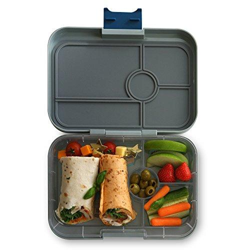 YUMBOX TAPAS (Flat Iron Grey) 4 compartment Leakproof Bento lunch box for Pre-teens, Teens & Adults (NYC tray))