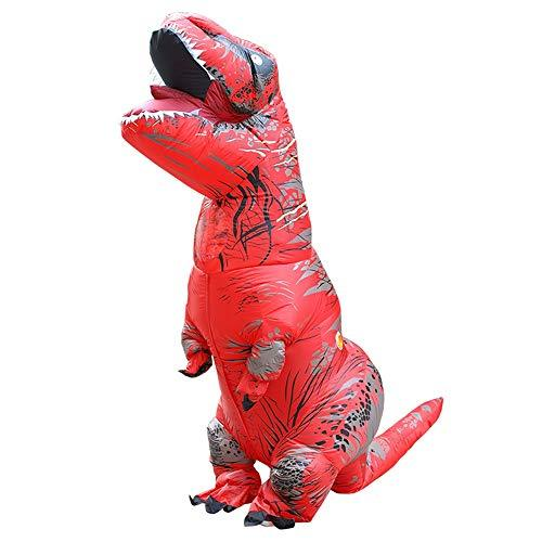 YUYOUG_Squishy 2018 Newest Inflatable Blow Up Adult Dinosaur T-Rex Halloween Horror Party Fancy Dress Costume Party Outfit Suit for Adult and Kids-2.2M/7.2ft , Multicolor (Red)