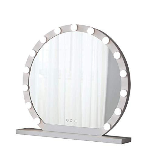 YXN Modern Fashion Makeup Mirror Round Table With Light Vanity Mirror Bedroom Hair Salon Living Room Princess Mirror (Size : 60CM)