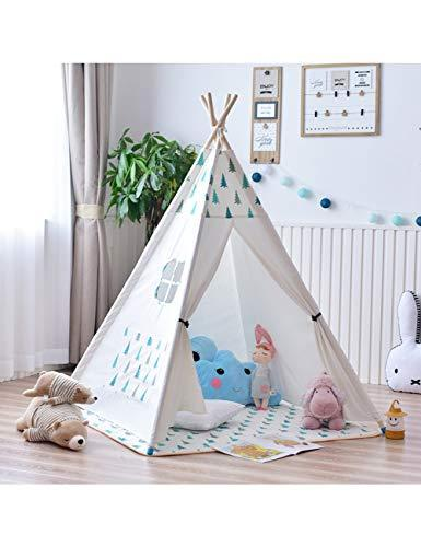 YXYSHU Large Unbleached Canvas Original Teepee Kids Teepee With Grey Play Tent House Children Tipi Tee Pee Tent,4-Pole Mint Tree