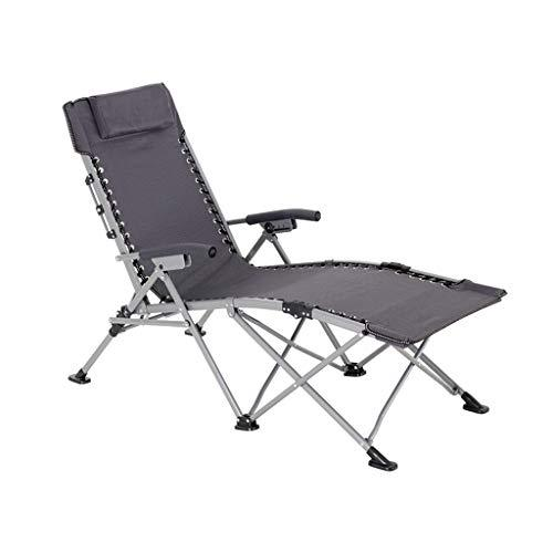 YY_C1 Deck chairs, single bed, office nap, recliner, camp bed, silent reinforcement, portable beach loungers (color : Black gray)