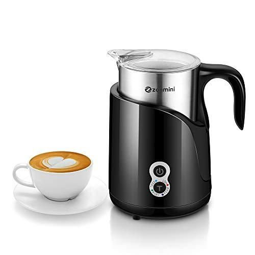 Zanmini Electric Milk Frother Warmer and Detachable Jug Multi-Fuction Frother and Heater with New Foam Destiny Feature Foam Maker for Coffee,Cappuccino and Macchiato Non-Stick Coating (Black 550W)