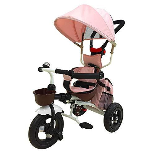 ZAY Trikes Deluxe Edition 4 in 1 Tricycle, Pushchairs with Push Steer Handle, Canopy & Safety Device (Color : PINK)