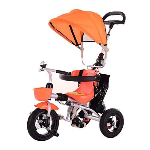 ZAY Trikes Folding Baby Tricycle, Child's Bicycle with Sun Canopy for Children, Back Storage and Removable Parent Handle, Safety Device (Color : ORANGE)