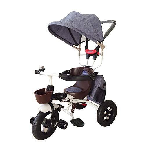 ZAY Trikes Tricycle, Deluxe Edition 4 in 1, Pushchairs with Push Steer Handle, Canopy & Safety Device (Color : Light blue)