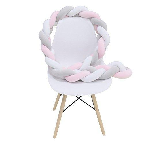 Zehui Baby Crib Bumper Knotted Braided Plush Nursery Cradle Decor Newborn Gift Bed Sleep Bumper