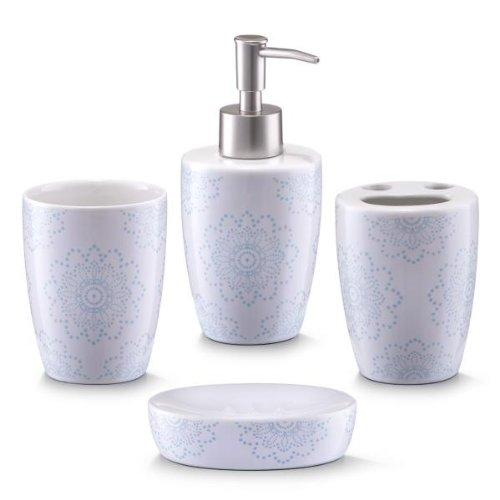 Zeller 18268 Bathroom Accessories 4-Part Set Ceramic Floral Design