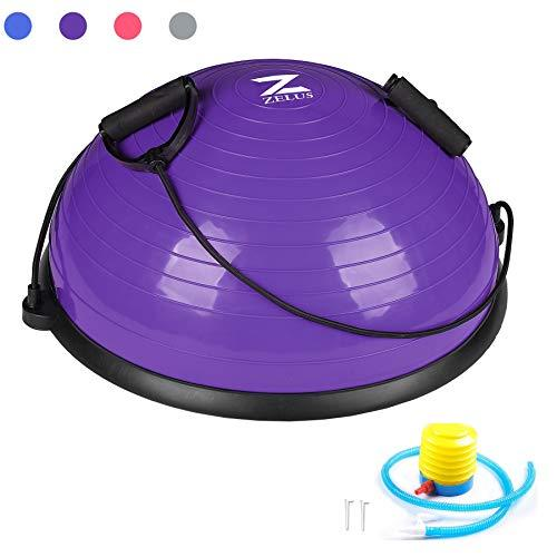 ZELUS Yoga Balance Ball Trainer 21 Inch with Resistance Bands w/Foot Pump for Yoga Fitness Strength Exercise Workout (Purple)