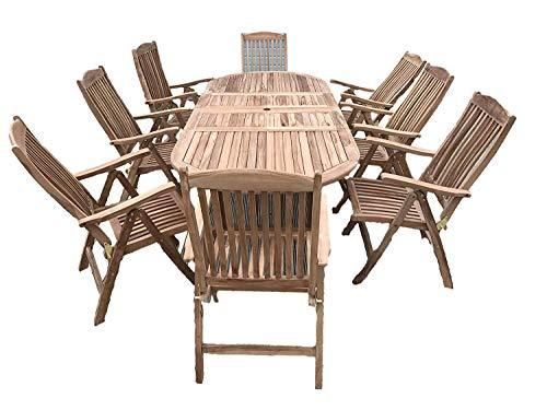 Zennor 8 Seater Set - Solid Teak 1.9m-2.7m / 6.2ft-8.8ft Rectangular Extending Table with Reclining Chairs